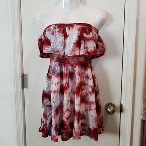 Forever 21 Tie Dye Strapless Ruffle Dress, Small